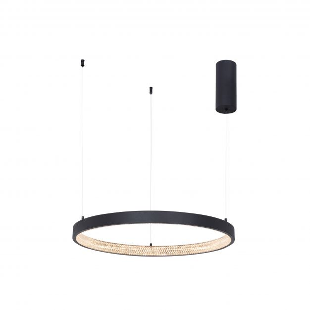 Nova Luce Preston - hanglamp - Ø 60 x 120 cm - 37W dimbare LED incl. - zand zwart