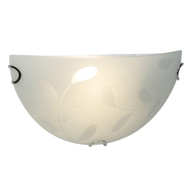 Brilliant Melania - wandverlichting - 31 x 10 x 15 cm - 9W LED incl. - mat glas met bladpatroon