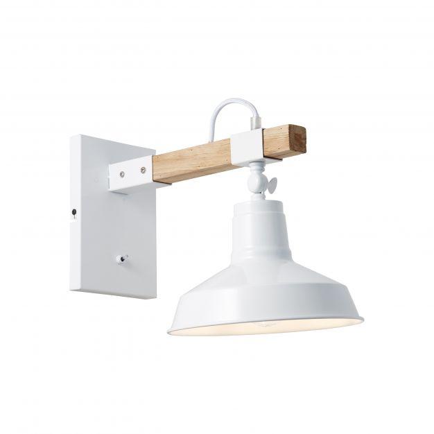 Brilliant Hank - wandverlichting met schakelaar - 23,5 x 36 x 26 cm - wit hoogglans