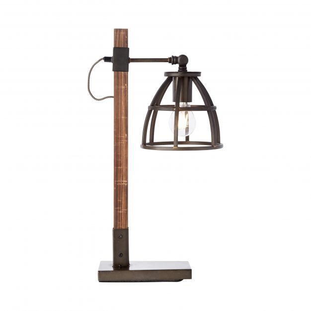 Brilliant Matrix Wood - tafellamp - 36 x 18,5 x 53 cm - bruin en zwart