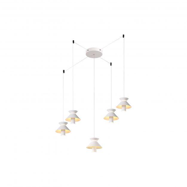 Brilliant Parachute - hanglamp - Ø 400 x 400 cm - 3 stappen dimmer - 5 x 7,4W LED incl. - wit