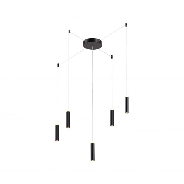 Brilliant Limas - hanglamp - Ø 400 x 400 cm - 3 stappen dimmer - 5 x 7,4W LED incl. - zwart