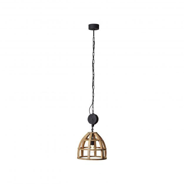 Brilliant Matrix Wood - hanglamp - Ø 34 x 143 cm - antiek hout