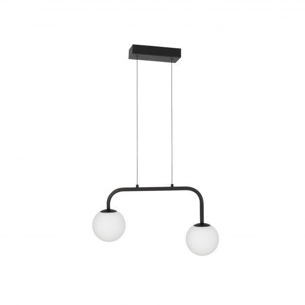 Nova Luce Joline - hanglamp - 35 x 12,5 x 115 cm - 16W LED incl. - zand zwart en opaal wit