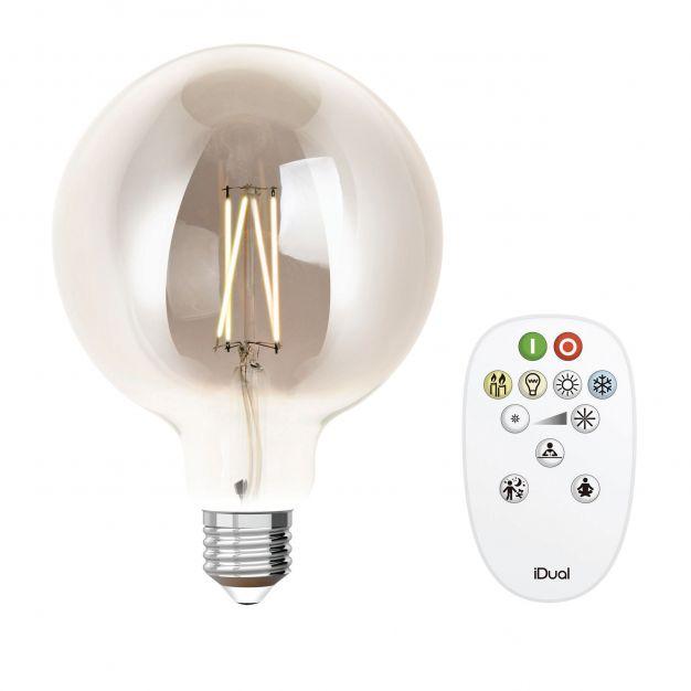 iDual LED-lamp met afstandsbediening - Ø 12,5 x 17,5 cm - E27 - 9W dimbaar - 2200K tot 6500K - gerookt