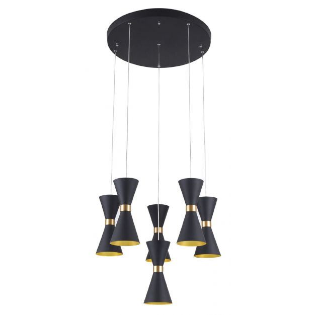 Maxlight Cornet - hanglamp - Ø 50 x 120 cm - 6 x 5W LED incl. - zwart en goud