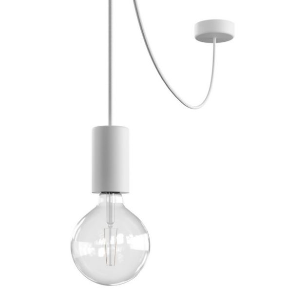 Creative Cables Eiva - buitenhanglamp met siliconen plafondbevestiging - Ø 12,5 x 514,5 cm - IP65 - wit