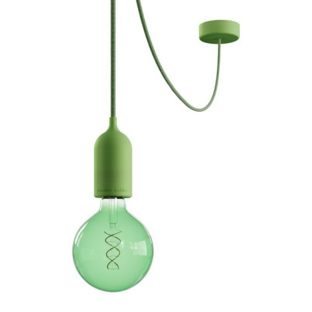 Creative Cables Eiva Pastel - buitenhanglamp met siliconen plafondbevestiging - Ø 12,5 x 514,5 cm - IP65 - zachtgroen