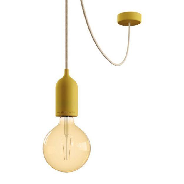 Creative Cables Eiva Pastel - buitenhanglamp met siliconen plafondbevestiging - Ø 12,5 x 514,5 cm - IP65 - mosterdgeel