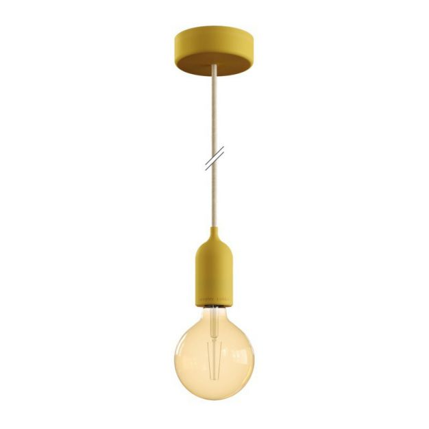 Creative Cables Eiva Pastel - buitenhanglamp met siliconen plafondbevestiging - Ø 12,5 x 164,5 cm - IP65 - mosterdgeel
