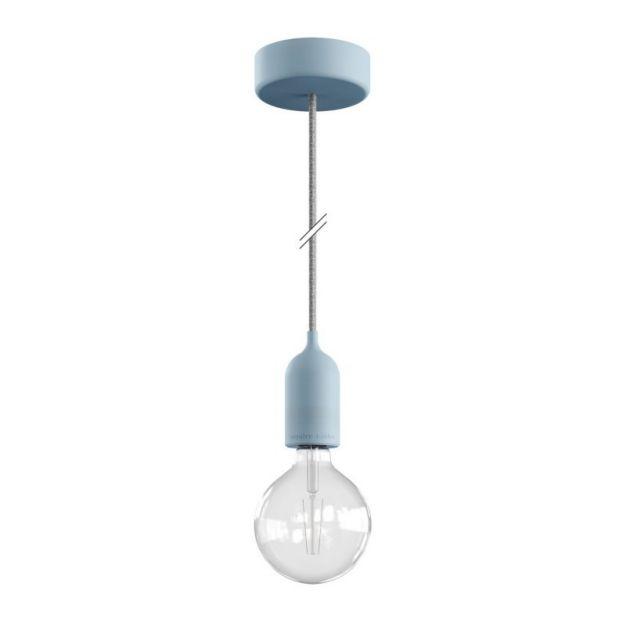 Creative Cables Eiva Pastel - buitenhanglamp met siliconen plafondbevestiging - Ø 12,5 x 164,5 cm - IP65 - zachtblauw