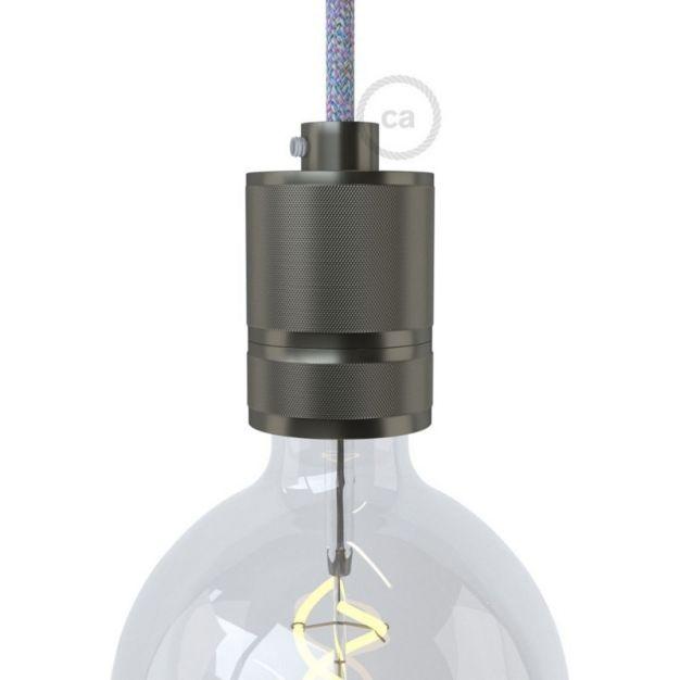 Creative Cables - E27 fitting met aluminium gefreesde kabelhouder - Ø 4,5 x 7 cm - grijs