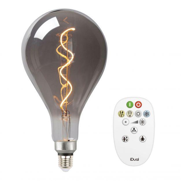 iDual LED-lamp met afstandsbediening - Ø 30 x 16 cm - E27 - 7W dimbaar - 2200K tot 5000K - gerookt
