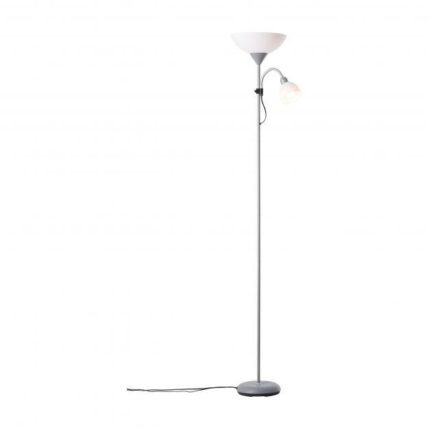 Brilliant Spari - staanlamp met leeslamp - 41 x 25 x 180 cm - 9W + 4W dimbare LED incl. - zilver