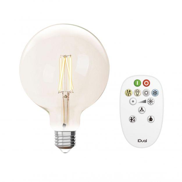 iDual LED-lamp met afstandsbediening - Ø 12,5 x 17,5 cm - E27 - 9W dimbaar - 2200K tot 6500K - transparant