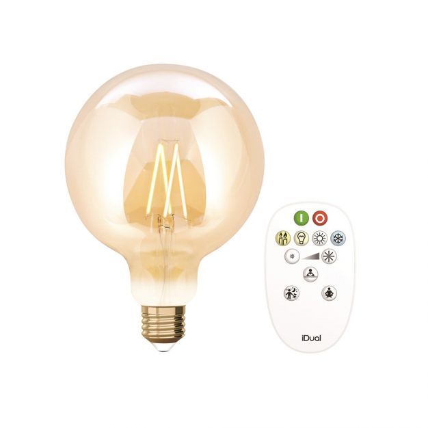 iDual LED-lamp met afstandsbediening - Ø 12,5 x 17,5 cm - E27 - 9W dimbaar - 2200K tot 5500K - amber