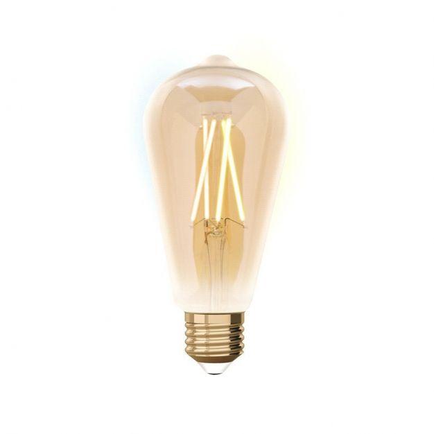 iDual LED-lamp zonder afstandsbediening - Ø 6,4 x 14 cm - E27 - 9W dimbaar - 2200K tot 5500K - amber