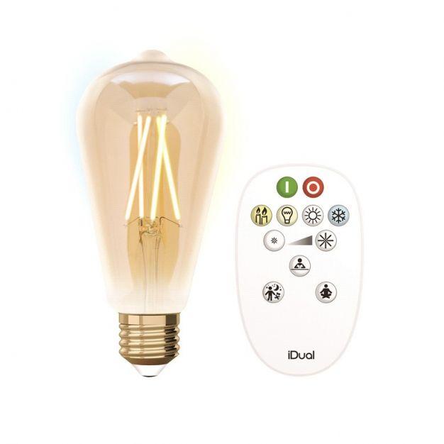 iDual LED-lamp met afstandsbediening - Ø 6,4 x 14 cm - E27 - 9W dimbaar - 2200K tot 5500K - amber