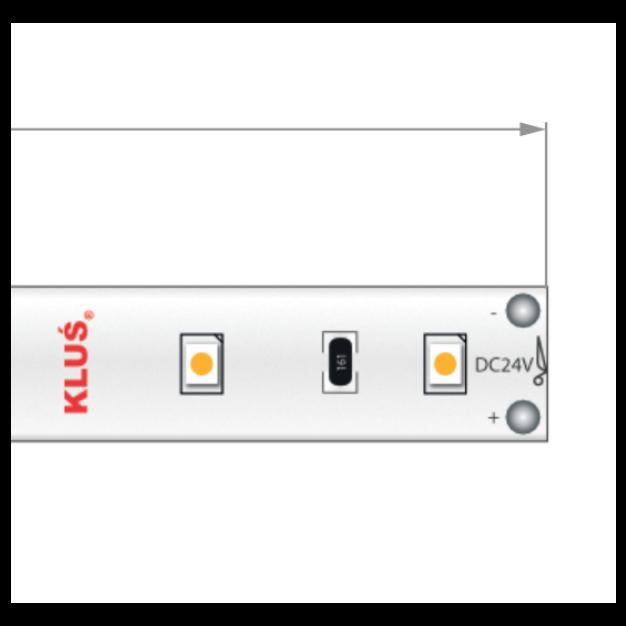 KLUS LED strip - 0,8cm breed, 500cm lengte - 24Vdc - dimbaar - 4,8W LED per meter - IP20 - 4000K