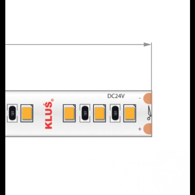 KLUS LED strip - 0,8cm breed, 500cm lengte - 24Vdc - dimbaar - 14,4W LED per meter - IP20 - 2700K