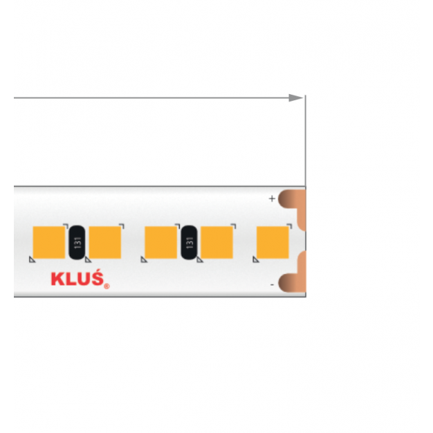 KLUS LED strip - 1cm breed, 500cm lengte - 24Vdc - dimbaar - 18,2W LED per meter - IP20 - 4000K