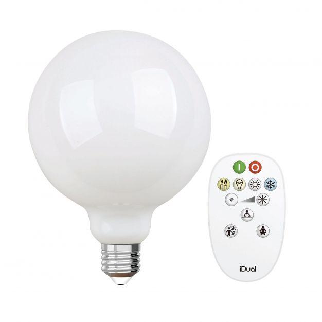 iDual LED-lamp met afstandsbediening - Ø 12,5 x 17,5 cm - E27 - 9W dimbaar - 2200K tot 6500K - melkglas