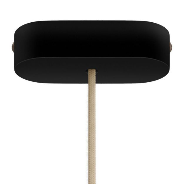 Creative Cables - ovale plafondrozet 1 lichtpunt - 2,7 x 12 x 5,1 cm - zwart