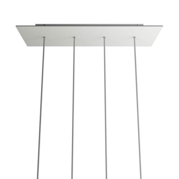 Creative Cables - Rose-One Rechthoekig plafondrozet voor 4 lichtpunten - 67,5 x 22,5 cm - wit