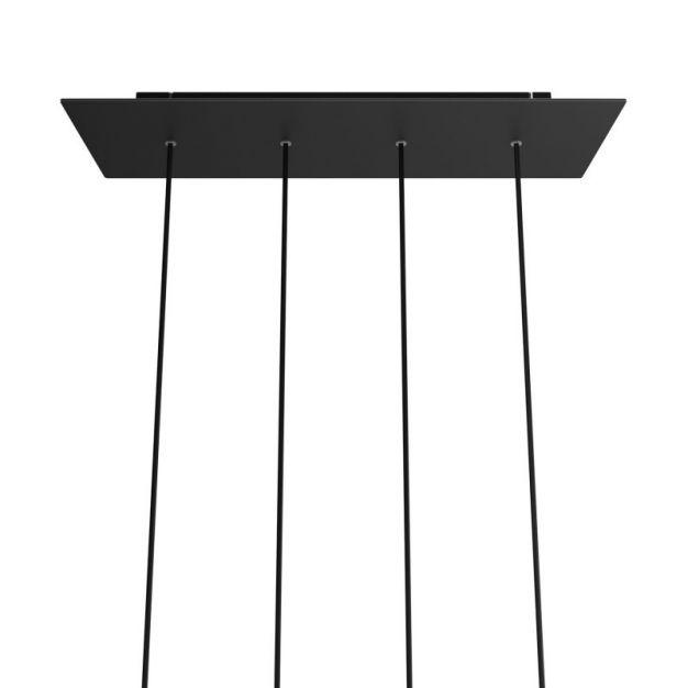 Creative Cables - Rose-One Rechthoekig plafondrozet voor 4 lichtpunten - 67,5 x 22,5 cm - zwart