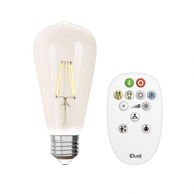 iDual LED-lamp met afstandsbediening - Ø 6,4 x 14 cm - E27 - 9W dimbaar - 2200K tot 6500K - transparant