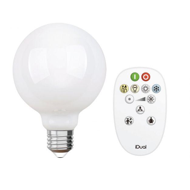 iDual LED-lamp met afstandsbediening - Ø 9,5 x 14 cm - E27 - 9W dimbaar - 2200K tot 6500K - melkglas