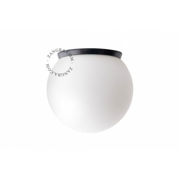 Zangra - wand/plafondverlichting - Ø 20 x 20 cm - IP65 - porselein - zwart