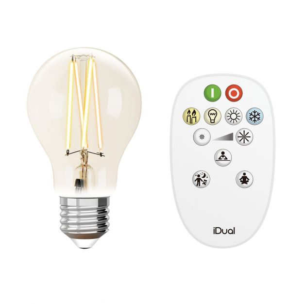 iDual LED-lamp met afstandsbediening - Ø 6 x 10,8 cm - E27 - 9W dimbaar - 2200K tot 6500K - transparant