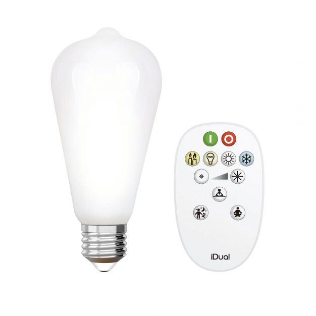 iDual LED-lamp met afstandsbediening - Ø 6,4 x 14 cm - E27 - 9W dimbaar - 2200K tot 6500K - melkglas