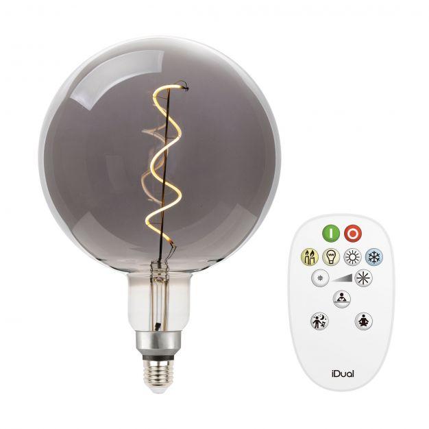 iDual LED-lamp met afstandsbediening - Ø 20 x 30 cm - E27 - 7W dimbaar - 2200K tot 5000K - gerookt