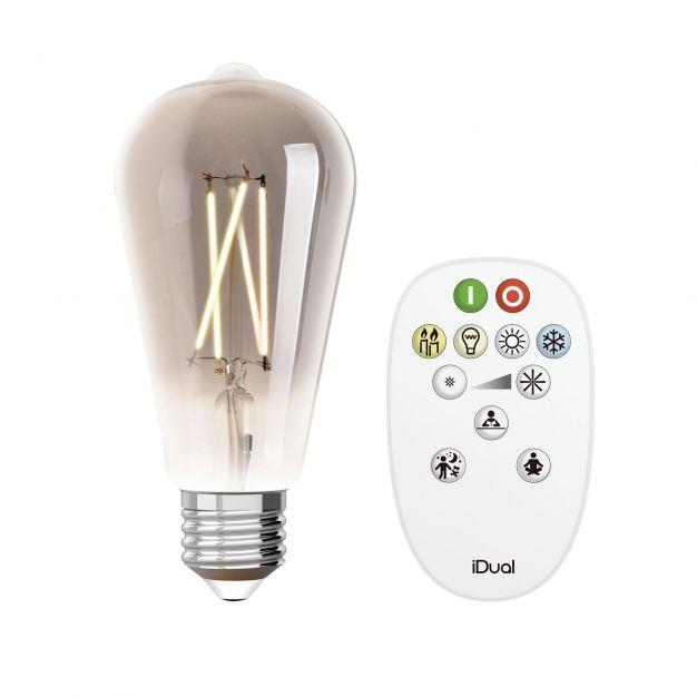iDual LED-lamp met afstandsbediening - Ø 6,4 x 14 cm - E27 - 9W dimbaar - 2200K tot 6500K - gerookt