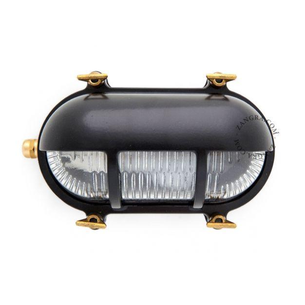 Zangra Waterproof - wandlamp - 20 x 10 x 10  cm - IP55 - zwart en messing