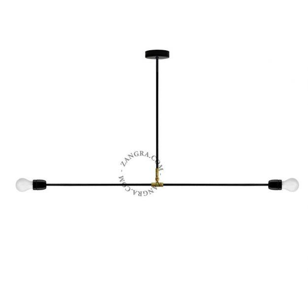 Zangra Swing - hanglamp - 110 x 58 cm - zwart en messing
