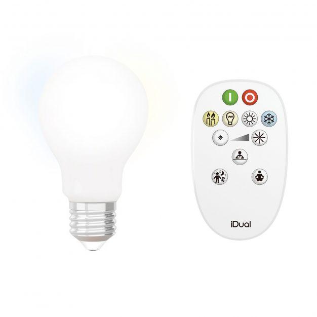iDual LED-lamp met afstandsbediening - Ø 6 x 10,8 cm - E27 - 9W dimbaar - 2200K tot 6500K - melkglas