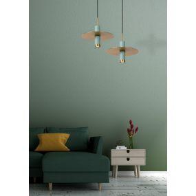 Lucide Selin - hanglamp - 25 x 25 x 145cm - Turkoois
