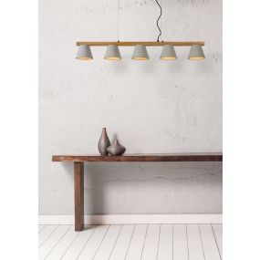 Lucide Possio - hanglamp - 110 x 15 x 130 cm - taupe, hout