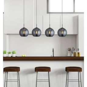 Searchlight Amsterdam - hanglamp - 175 x 30 x 240 cm - zwart