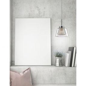 Nova Luce Boccale - hanglamp - Ø 12 x 120 cm - chroom en transparant