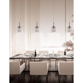 Nova Luce Boccale - hanglamp - 117 x 10 x 120 cm - 5 x 33W halogeen incl. - chroom en transparant