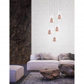 Nova Luce Hugo - hanglamp - Ø 30 x 120 cm - rose goud en chroom