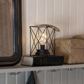 Konstsmide - Decoratieve lantaarn op batterij - 12 x 12 x 19 cm - zwart
