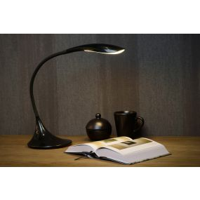 Lucide Emil - bureaulamp - 37,5 cm - 6W dimbare LED incl. - zwart