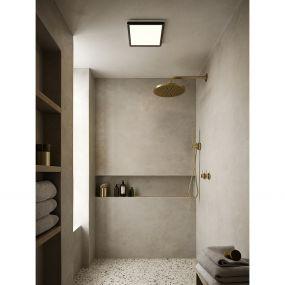 Nordlux Oja - badkamer plafondverlichting - 29,4 x 29,4 x 2,3 cm - 3 stappen Moodmaker SceneSelect functie - 14,5W LED incl. - IP54 - zwart
