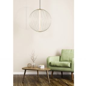 Lucide Carbony - hanglamp - Ø 60 x 180 cm - 10W dimbare LED incl. - messing