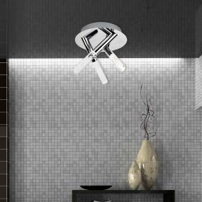 Searchlight Bubbles – plafondverlichting - Ø 20 x 18 cm - 9W LED incl. - IP44 - chroom